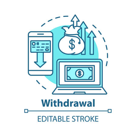 Money withdrawal concept icon. Savings idea thin line illustration. Claiming profits from investment. Getting interest from deposit, bank account. Vector isolated outline drawing. Editable stroke Illusztráció