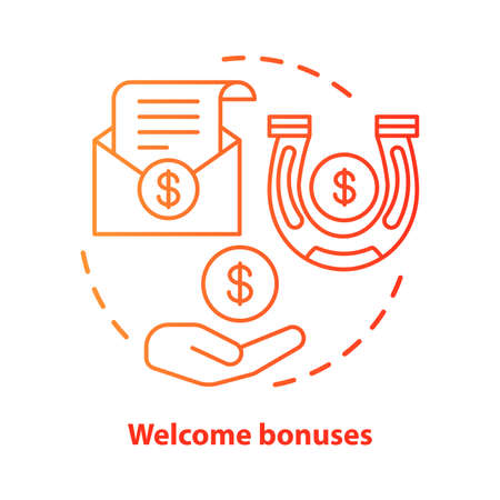 Casino welcome bonuses concept icon. Reward program idea thin line illustration. Good luck & fortune. Financial success. Profit, income. Vector isolated outline drawing