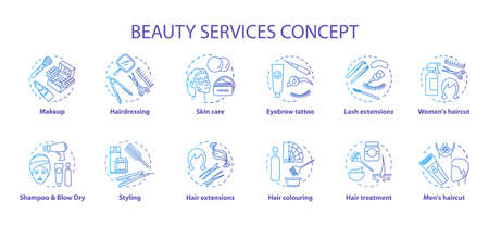 Beauty services concept icons set. Beauty salon, SPA skin care procedures idea thin line illustrations. Hairdresser and makeup. Blue gradient vector isolated outline drawings. Editable stroke Ilustración de vector