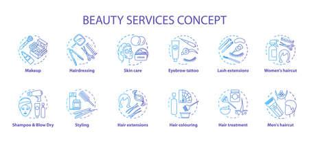 Ensemble d'icônes de concept de services de beauté. Salon de beauté, procédures de soins de la peau SPA idée illustrations de lignes fines. Coiffeur et maquillage. Dessins de contour isolés vecteur dégradé bleu. Trait modifiable Vecteurs