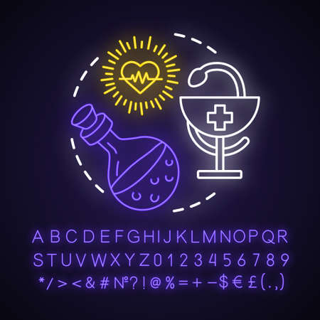 Healing spell neon light concept icon. Witchcraft and alchemy idea. Glowing sign with alphabet, numbers and symbols. Snake with bowl, heart and magic health potion vector isolated illustration