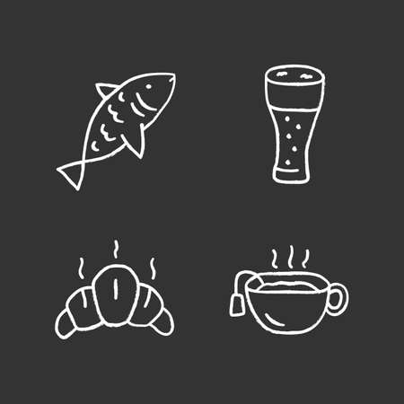 Drinks with snacks chalk icons set. Fish, beer glass, croissant and hot tea isolated vector chalkboard illustrations. Harmful and healthy beverages with appetizers. Delicious food, tasty meal