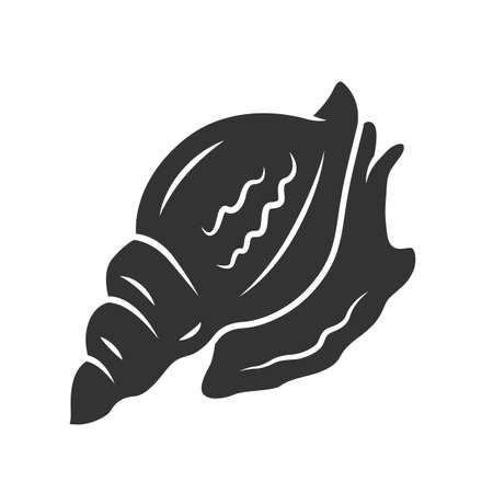 Triton glyph icon. Large mollusk with spiral shell. Tropical seashell. Underwater inhabitant. Aquatic mollusk. Marine creature. Silhouette symbol. Negative space. Vector isolated illustration Illustration