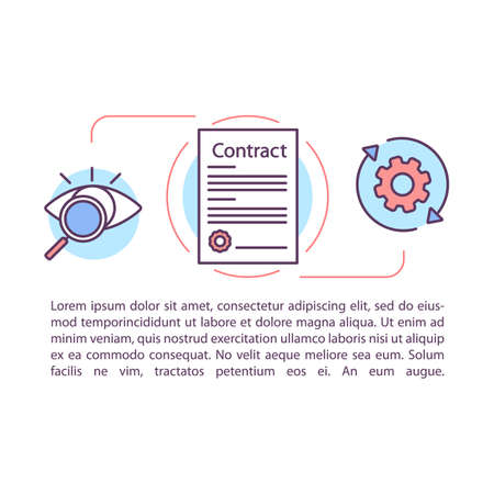 Contract management article page vector template. Employment document. Treaty, agreement. Brochure, magazine, booklet design element with linear icons. Print design. Concept illustrations with text