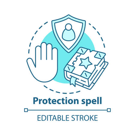 Protection spell concept icon. Occultism and superstition idea thin line illustration. Safety sorcery, security charm. Grimoire, shield and hand vector isolated outline drawing. Editable stroke