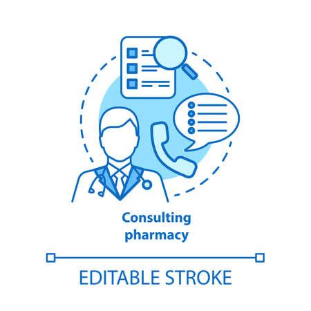 Consulting pharmacy concept icon. Doctor medical consultation idea thin line illustration. Professional pharmacist. Prescription, medicine advice. Vector isolated outline drawing. Editable stroke Ilustração