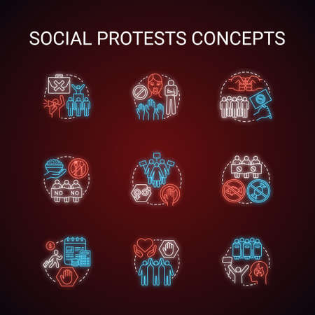 Social protests neon light concept icons set. Public demonstrations, civil disobedience idea. Glowing sign with alphabet, numbers and symbols. Political strikes, boycotts vector isolated illustration