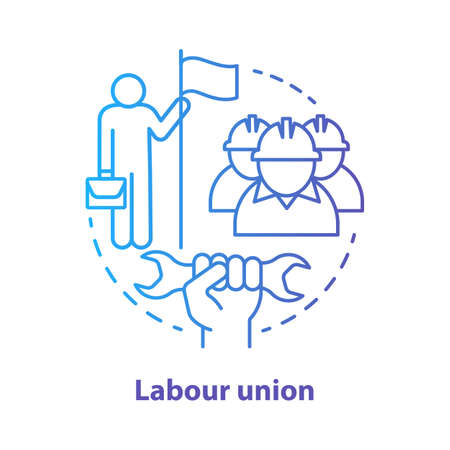 Labour union blue concept icon. Employee right protection idea thin line illustration. Trade union. Worker association. Staff interests representative. Vector isolated outline drawing. Editable stroke
