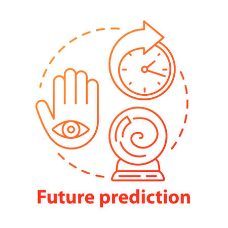 Future prediction concept icon. Fortune telling, psychic service. Divination, esoterics and occultism idea thin line illustration. Crystal ball, palm with eye and clock vector isolated outline drawing