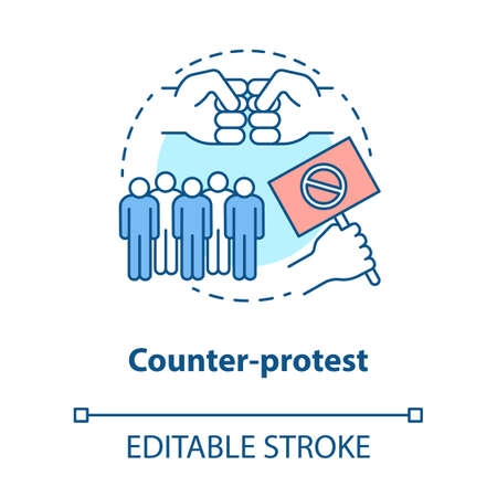 Counter protest concept icon. Public demonstration, disagreement manifestation idea thin line illustration. Hand holding placard, fists and crowd vector isolated outline drawing. Editable stroke