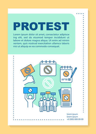 Political protest poster template layout. Government manifestation banner, booklet, leaflet print design with linear icons. Public rally vector brochure page layouts for magazines, advertising flyers