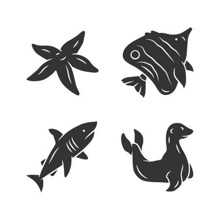 Sea animals glyph icons set. Starfish, butterflyfish, shark, seal. Ocean underwater wildlife. Aquatic fish species. Undersea world. Oceanography. Silhouette symbols. Vector isolated illustration Stock Vector - 129878367