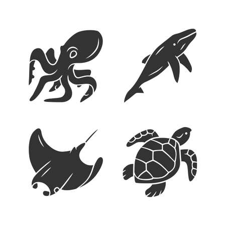 Underwater world glyph icons set. Swimming octopus, turtle, whale. Ocean animals, undersea wildlife. Zoology and marine fauna. Aquatic creatures. Silhouette symbols. Vector isolated illustration