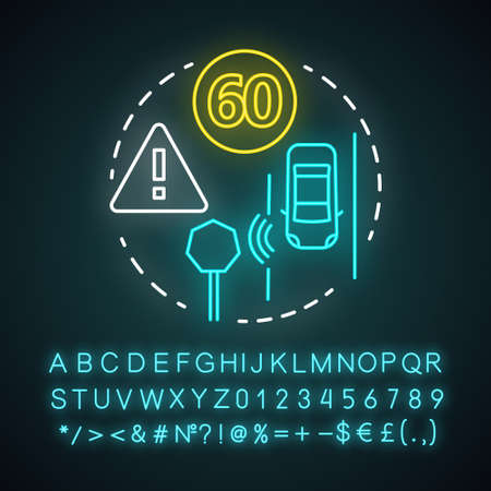 Sign recognition neon light concept icon. Traffic signs detection. Smart car on road. Sensor technologies idea. Glowing sign with alphabet, numbers and symbols. Vector isolated illustration