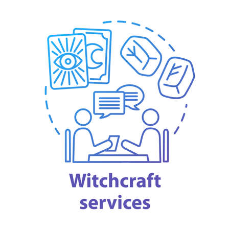 Witchcraft services concept icon. Fortune telling and divination idea thin line illustration. Future prediction. Rune stones, psychic with client and tarot cards vector isolated outline drawing Stock Illustratie