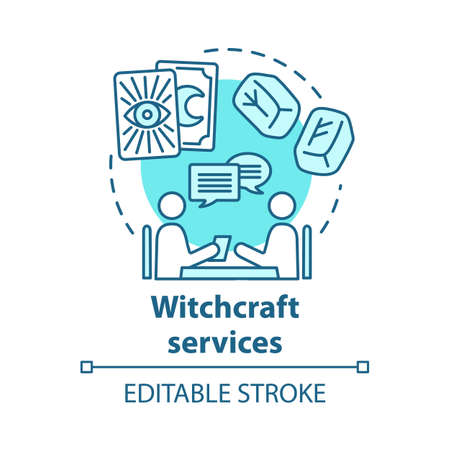 Witchcraft services concept icon. Future prediction and divination idea thin line illustration. Rune stones, psychic with client and tarot cards vector isolated outline drawing. Editable stroke