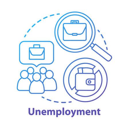 Icona del concetto di disoccupazione. Illustrazione al tratto sottile di idea di povertà. Disoccupazione. Persone disoccupate e disoccupate. Problema sociale dell'economia. Diritti dei lavoratori. Disegno di contorno isolato vettoriale