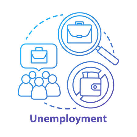 Unemployment concept icon. Poverty idea thin line illustration. Joblessness. Jobless and unemployed people. Economy social problem. Workers rights. Vector isolated outline drawing