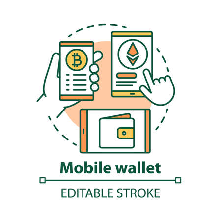 Mobile wallet concept icon. Smartphone app idea thin line illustration. Carrying credit card information on electronic device. Digital money transfer. Vector isolated outline drawing. Editable stroke Ilustracja