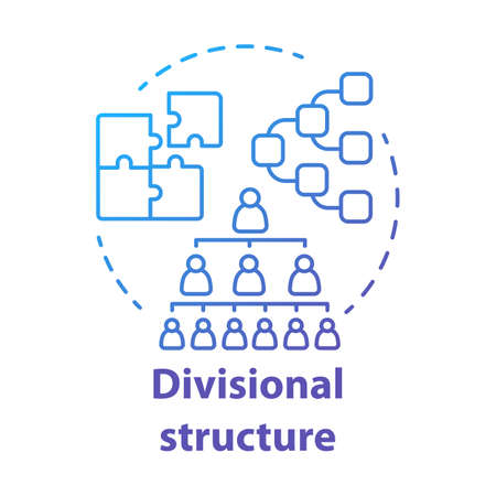 Divisional corporate structure concept icon. Organization hierarchy idea thin line illustration. Leadership and teamwork. Company top management. Vector isolated outline drawing
