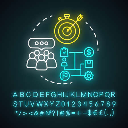 Functional corporate structure neon light concept icon. Business strategy idea. Glowing alphabet, numbers. Management and workflow organization. Marketing campaign. Vector isolated illustration