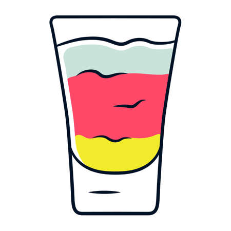 Shot color icon. Layered cocktail in glass. Alcoholic drink. Tumbler with shooter. Beverage for party, celebration. Mix for fast consumption. Isolated vector illustration