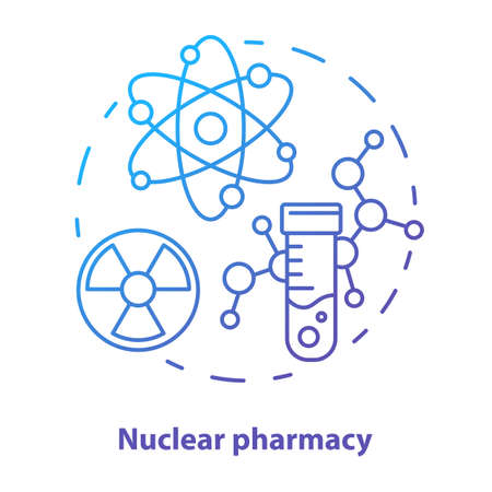 Pharmacy concept icon. Nuclear medication idea thin line illustration. Radioactive element research. Chemotherapy and radioactive drugs. Vector isolated outline drawing