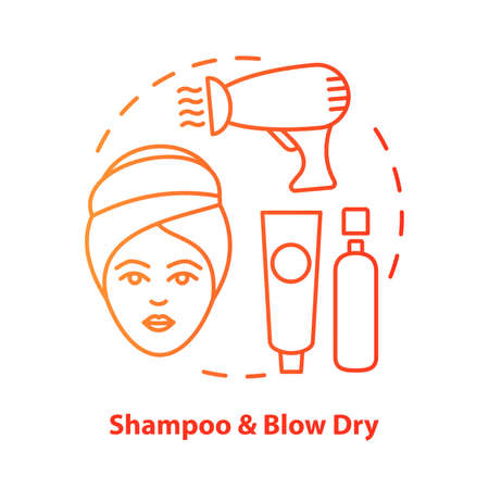 Shampoo and blow dry blue concept icon. Hair care, treatment products idea thin line illustration. Hairdresser salon, hairstylist parlor. Red gradient vector isolated outline drawing. Editable stroke