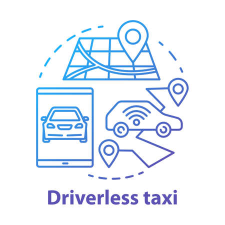 Driverless taxi concept icon. Robo-Cab. Navigation in autonomous car. Rout for self-driving vehicle. Mobile taxi service idea thin line illustration. Vector isolated outline drawing. Editable stroke Stock Illustratie