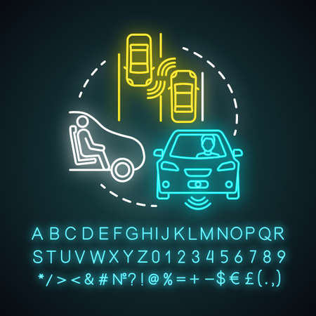 Autopilot neon light concept icon. Autonomous car, driverless vehicle. Smart car. Self-driving auto idea. Glowing sign with alphabet, numbers and symbols. Vector isolated illustration