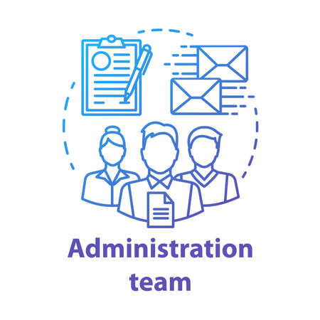 Administration team concept icon. Organization department idea thin line illustration. Office managers team. Company staff. Corporate management personnel. Vector isolated drawing Vectores