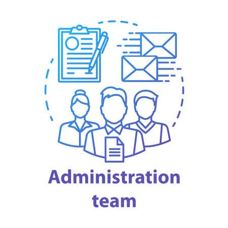 Icono del concepto de equipo de administración. Ilustración de línea fina de idea de departamento de organización. Equipo de gerentes de oficina. Personal de la empresa. Personal de gestión corporativa. Dibujo aislado vectorial Ilustración de vector