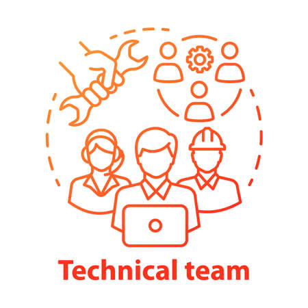 Technical team concept icon. Company staff, workforce idea thin line illustration. Software engineers and client service workers. Technical personnel. Vector isolated outline drawing