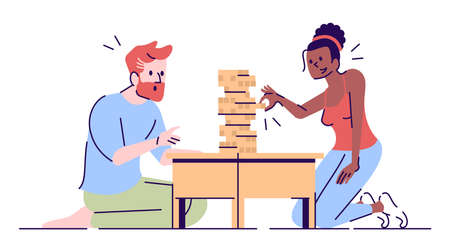 Couple playing games flat vector illustration. Family relax. Bearded man focused on tower construction. Girl pulling wooden block isolated cartoon characters with outline elements on white background