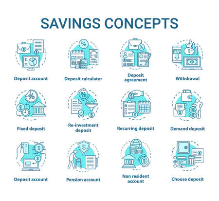Savings concept icons set. Different banking systems, deposit account variety idea thin line illustrations. Passive income from savings account. Vector isolated outline drawings. Editable stroke  イラスト・ベクター素材