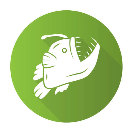 Anglerfish green flat design long shadow glyph icon. Swimming goosefish. Underwater world. Ocean monster, undersea animal with open mouth. Marine predator. Vector silhouette illustration