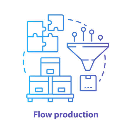Flow production blue concept icon. Continuous-flow manufacturing idea thin line illustration. Production process, fabrication. Non-stop manufacturing. Vector isolated outline drawing. Editable stroke Ilustracja