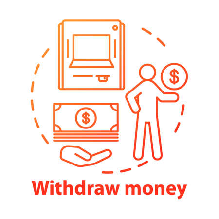 Withdraw money concept icon. Savings idea thin line illustration. Using ATM, getting cash from bank. Getting interest from deposit, bank account. Vector isolated outline drawing
