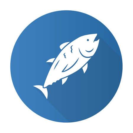 Tuna blue flat design long shadow glyph icon. Swimming marine fish. Underwater inhabitant. Mackerel fishing. Seafood restaurant. Aquatic animal. Undersea world. Vector silhouette illustration Illustration