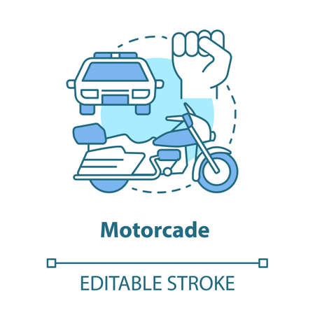 Motorcade concept icon. Vehicles procession idea thin line illustration. Police car, motorcycle and fist vector isolated outline drawing. Political transportation, security cortege. Editable stroke