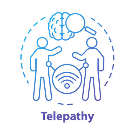 Telepathy concept icon. Mind reading, thought transference idea thin line illustration. Supernatural psychic abilities. Brain with magnifying glass and people vector isolated outline drawing