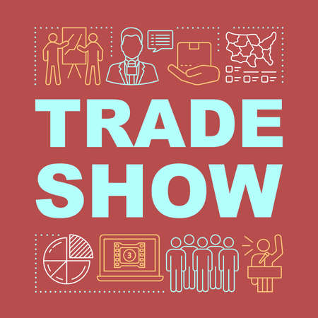 Trade show word concepts banner. Business meeting. Event management. Presentation, website. Holding retail conference. Isolated lettering typography idea with linear icons. Vector outline illustration Illusztráció