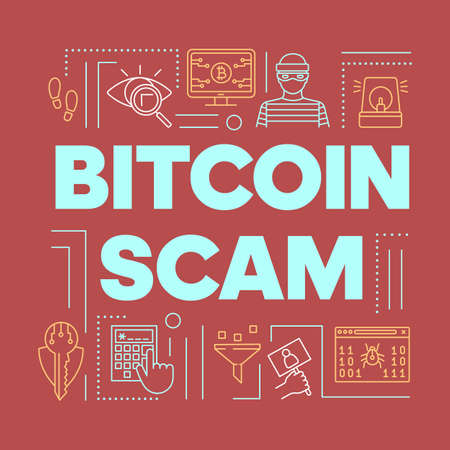 Bitcoin scam word concepts banner. Cryptocurrency cybercrime and phishing. Crypto currency fraud. Presentation, website. Isolated lettering typography with linear icons. Vector outline illustration