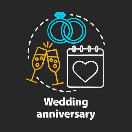 Wedding anniversary chalk concept icon. Marriage, engagement celebration date idea. Bridal party. Champagne, calendar and rings. Vector isolated chalkboard illustration