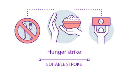 Hunger strike concept icon. Voluntary food refuse, nonviolent protest idea thin line illustration. Tableware with stop sign, rice bowl and protester vector isolated outline drawing. Editable stroke