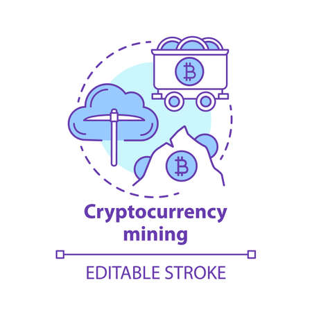 Cryptocurrency mining concept icon. Electronic money idea thin line illustration. Cryptomining, blockchain. Digital currency transaction validation. Vector isolated outline drawing. Editable stroke