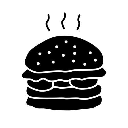Delicious burger glyph icon. Unhealthy nutrition, harmful food, takeaway service silhouette symbol. Negative space. Grilled patty with buns and vegetables, junk food vector isolated illustration