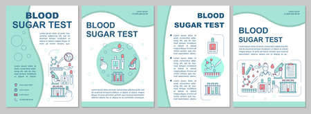 Blood sugar test brochure template layout. Flyer, booklet, leaflet print design, linear illustrations. Glucose level control. Vector page layouts for annual reports, advertising posters Banco de Imagens - 129946080