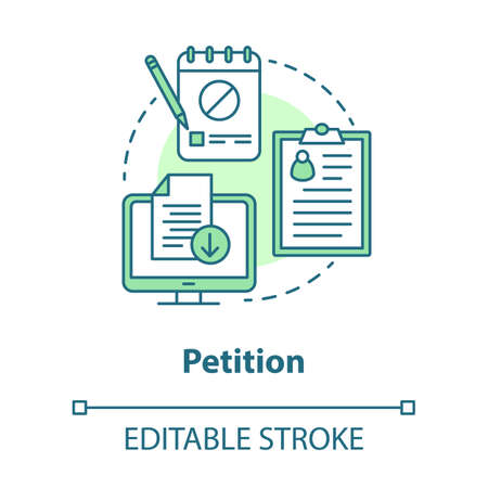 Petition concept icon. Signature collection idea thin line illustration. Computer, clipboard and notepad vector isolated outline drawing. Social protest, public opinion demonstration. Editable stroke  イラスト・ベクター素材