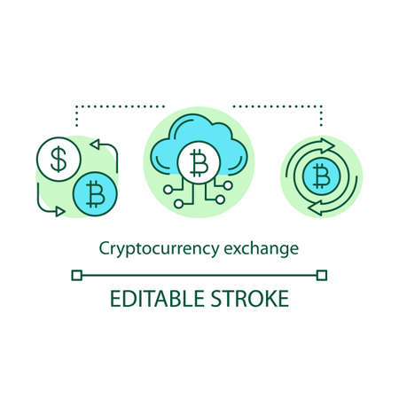 Cryptocurrency exchange concept icon. Trade digital currency for asset idea thin line illustration. Bitcoin to dollar exchange. Online banking system. Vector isolated outline drawing. Editable stroke